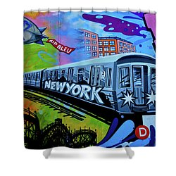 New York Train Shower Curtain by Joan Reese