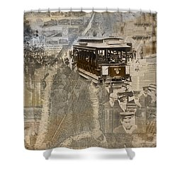 New York Trolley Vintage Photo Collage Shower Curtain by Karla Beatty