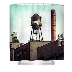 Shower Curtain featuring the photograph New York Water Towers 19 - Urban Industrial Art Photography by Gary Heller