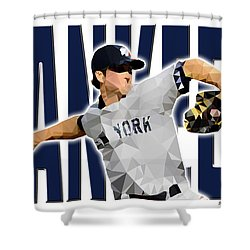 Shower Curtain featuring the digital art New York Yankees by Stephen Younts