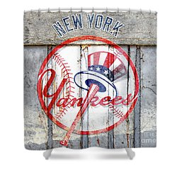 New York Yankees Top Hat Rustic Shower Curtain
