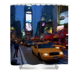 Shower Curtain featuring the painting New York Yellow Cab by David Dehner