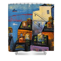 Shower Curtain featuring the painting New York,red Bridge by Mikhail Zarovny