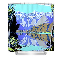 New Zealand Lake Matheson Vintage Travel Poster Shower Curtain