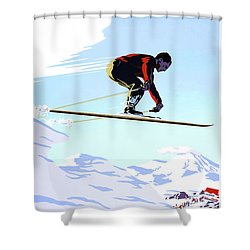 New Zealand Winter Sports Vintage Travel Poster Shower Curtain