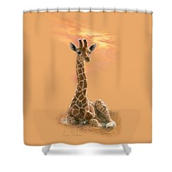 Newborn Giraffe Shower Curtain