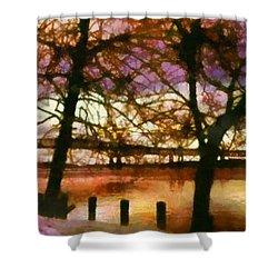 Newburgh Beacon Bridge Purple Skies Shower Curtain