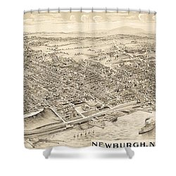 Newburgh Ny Birds Eye Drawing Shower Curtain