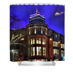 Shower Curtain featuring the photograph Newbury Street And The Prudential - Back Bay - Boston by Joann Vitali