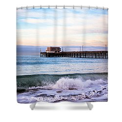 Newport Beach Ca Pier At Sunrise Shower Curtain by Paul Velgos