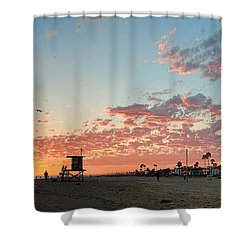 Newport Beach Panorama Shower Curtain by Eddie Yerkish