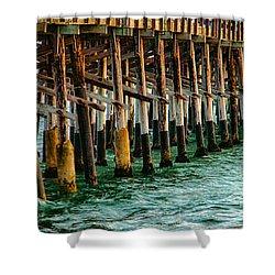 Newport Beach Pier Close Up Shower Curtain by Mariola Bitner