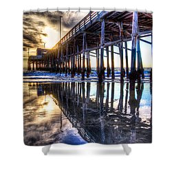 Newport Beach Pier - Reflections Shower Curtain