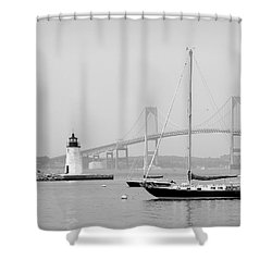 Newport, Rhode Island Serene Harbor Scene Shower Curtain