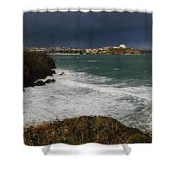 Shower Curtain featuring the photograph Newquay Squalls On Horizon by Nicholas Burningham