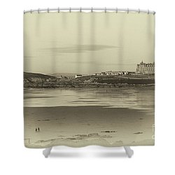 Shower Curtain featuring the photograph Newquay With Old Watercolor Effect  by Nicholas Burningham