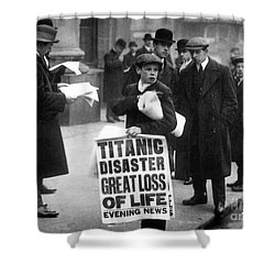 Newsboy Ned Parfett Announcing The Sinking Of The Titanic Shower Curtain by English School