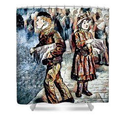 Shower Curtain featuring the digital art Newsboy by Pennie McCracken