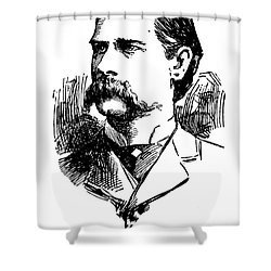 Shower Curtain featuring the mixed media Newspaper Image Of Wyatt Earp 1896 by Daniel Hagerman