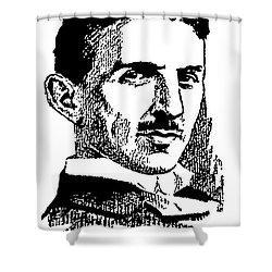 Shower Curtain featuring the digital art Newspaper Nikola Tesla  by Daniel Hagerman