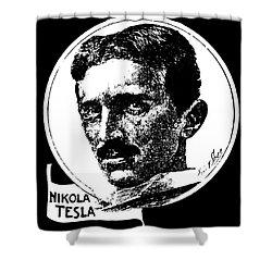 Shower Curtain featuring the digital art Newspaper Tesla 2 by Daniel Hagerman