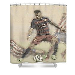 Neymar Fight For The Bal Shower Curtain by Don Kuing