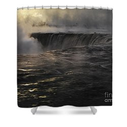 Niagara Falls Covered In Mist Beautiful Dramatic Winter Sunrise  Shower Curtain