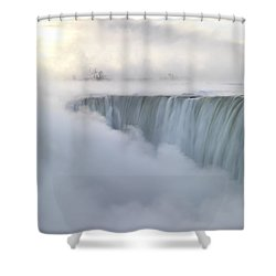 Niagara Falls Covered In Mist Beautiful Sunrise Scenery Shower Curtain