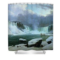 Niagara Falls Shower Curtain by Hippolyte Victor Valentin Sebron