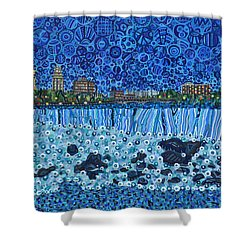 Niagara Falls - Night Shower Curtain by Micah Mullen