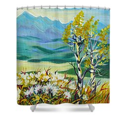 Shower Curtain featuring the painting Nice Autumn Day by Anna  Duyunova