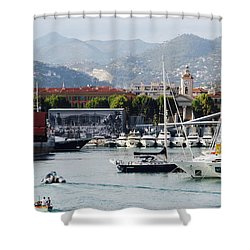 Shower Curtain featuring the photograph Nice Harbour Life by Rasma Bertz