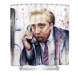 Nicolas Cage A Vampire's Kiss Watercolor Art Shower Curtain by Olga Shvartsur