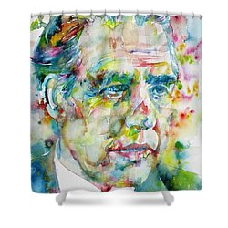 Shower Curtain featuring the painting Niels Bohr - Watercolor Portrait by Fabrizio Cassetta