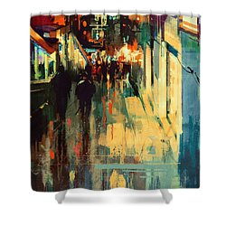 Night Alleyway Shower Curtain