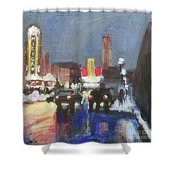 Night Around Michigan Theater Shower Curtain