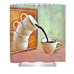 Shower Curtain featuring the painting Night At The Art Gallery - Instant Coffee by Wayne Pascall