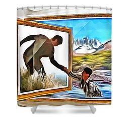 Shower Curtain featuring the painting Night At The Art Gallery - One To Another by Wayne Pascall