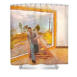 Shower Curtain featuring the painting Night At The Art Gallery - Railway To Freedom by Wayne Pascall