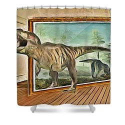 Shower Curtain featuring the painting Night At The Art Gallery - T Rex Escapes by Wayne Pascall