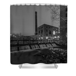 Night At The River 2 In Black And White Shower Curtain