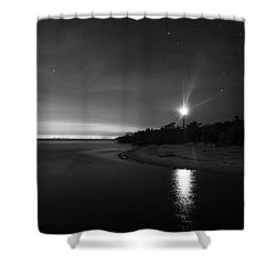 Night At The Sanibel Lighthouse In Black And White Shower Curtain