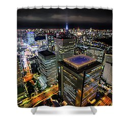 Night At Tokyo Metropolitan Government Building Shower Curtain