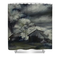 Night Barn Shower Curtain by James Christopher Hill