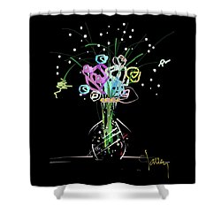 Shower Curtain featuring the mixed media Night Bouquet by Larry Talley