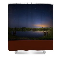 Night Brush Fire In The Everglades Shower Curtain by Mark Andrew Thomas