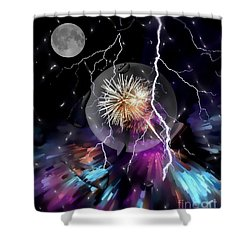 Shower Curtain featuring the digital art Night Drops By Nico Bielow by Nico Bielow