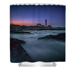 Shower Curtain featuring the photograph Night Falls On Portland Head by Rick Berk