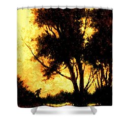 Night Fishing Shower Curtain