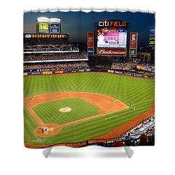 Night Game At Citi Field Shower Curtain